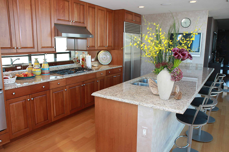 Medium shade of brown wooden cabinets