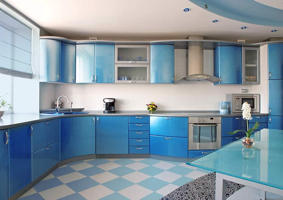 Mid shade of blue kitchen cabinets