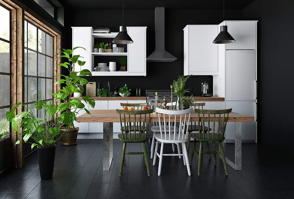 Pairing dark walls with white cabinets