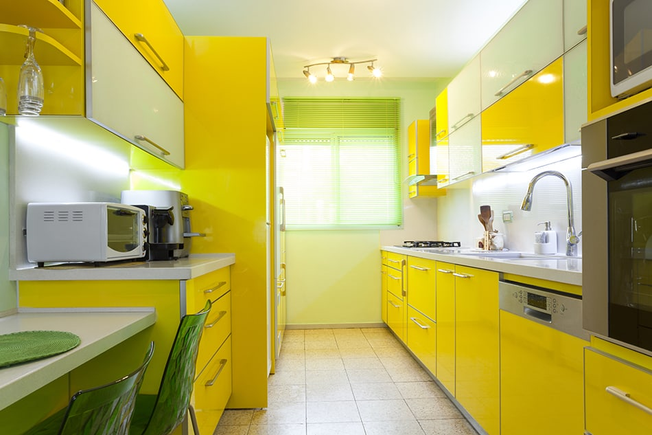striking canary yellow kitchen cabinets