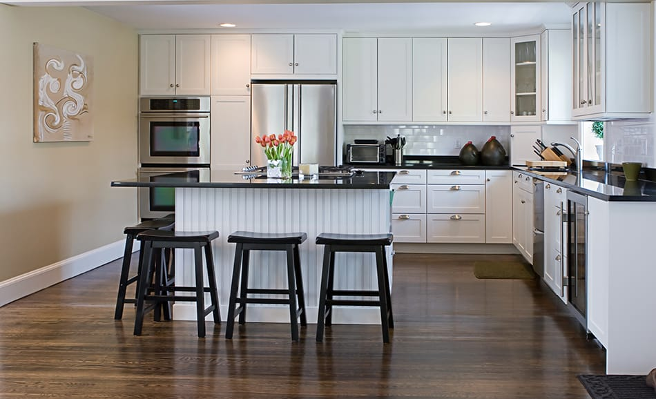 White cabinets contrasting countertop