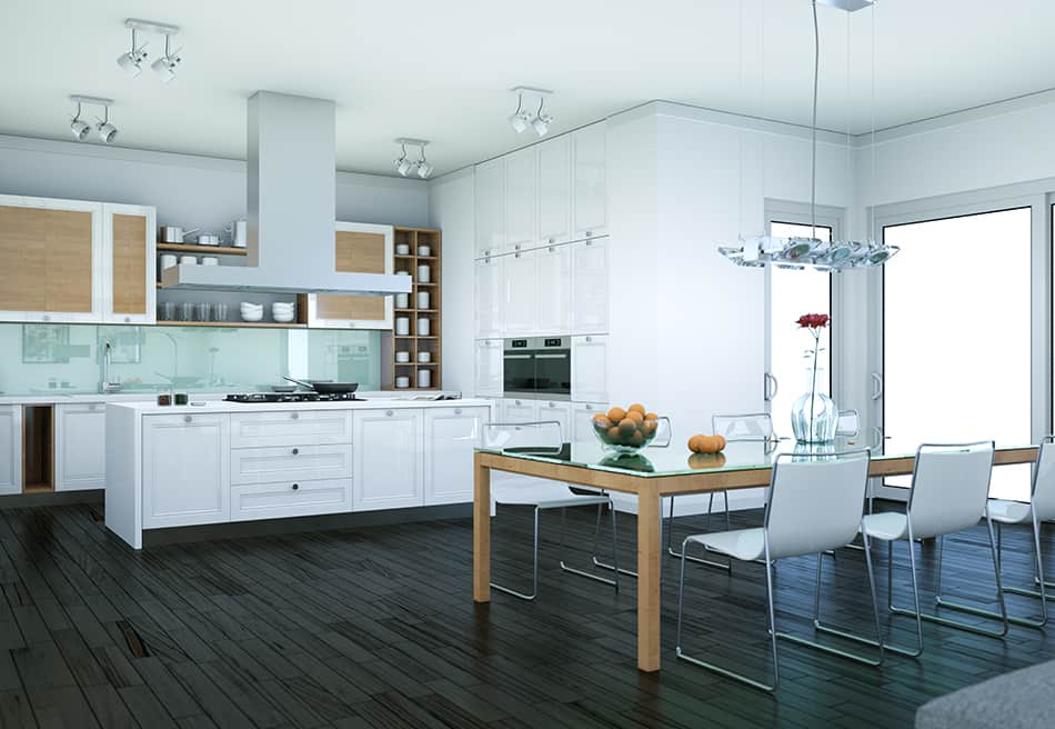 White cabinets contrasting with dark wood floors