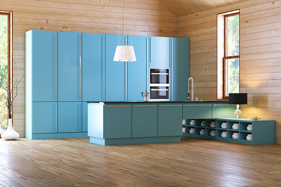 Blue Cabinets in a Light Brown Kitchen