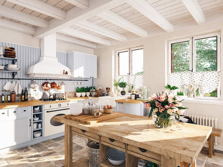 Blue and Brown Rustic Style Kitchen