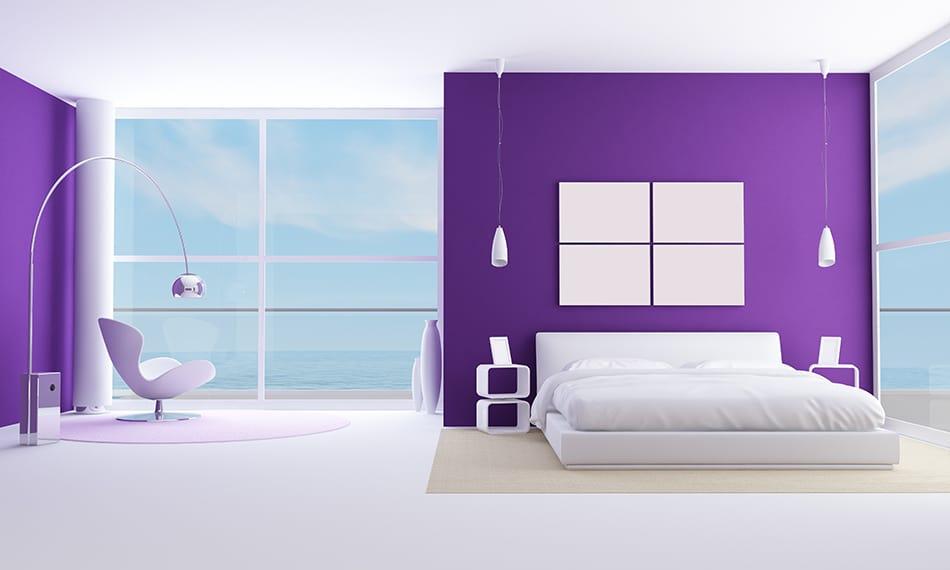 Dark Purple Walls with White Bedding