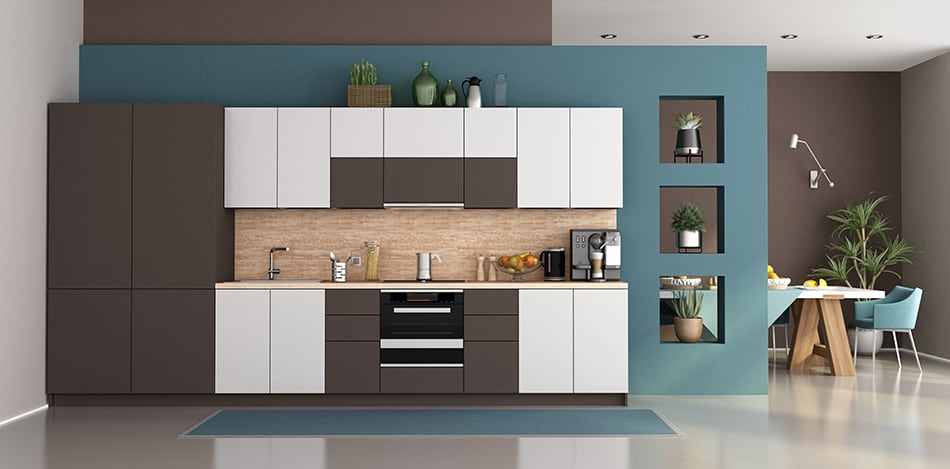 Grayish Brown with Blue for a Modern Kitchen