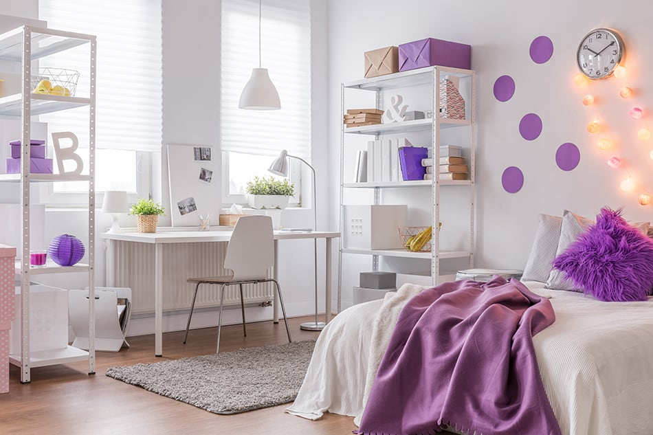 Purple Accessories for White Bedroom