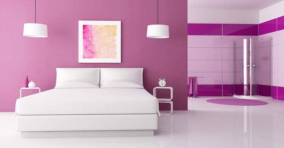 Sophisticated Purple in a Minimalist Bedroom