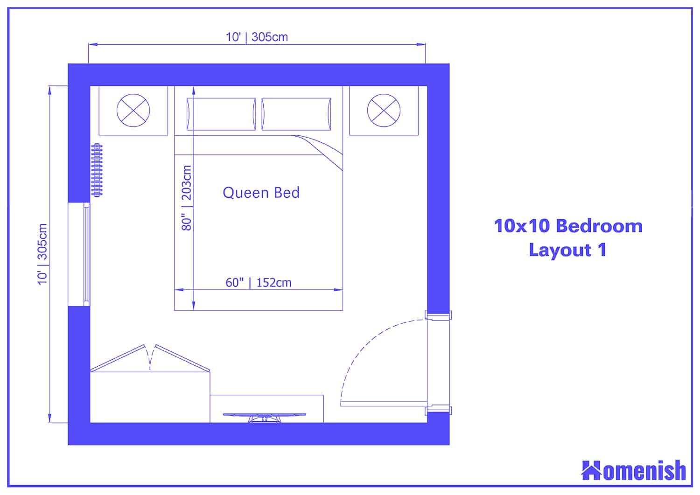 10x10 Bedroom Layout 1
