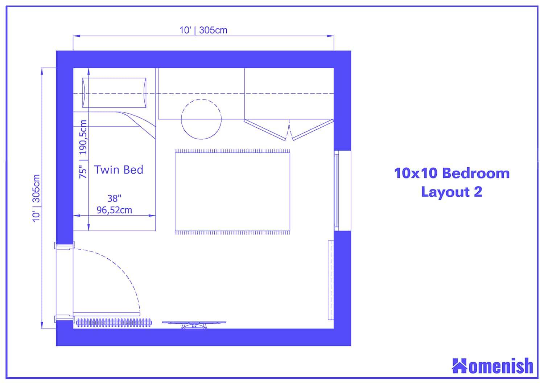 10x10 Bedroom Layout 2