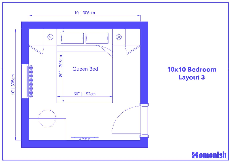 10x10 Bedroom Layout 3