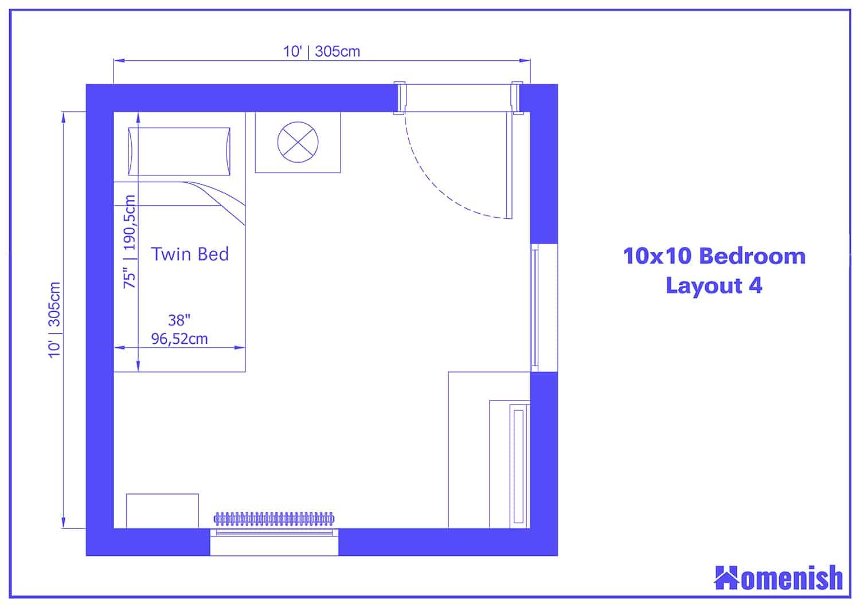 10x10 Bedroom Layout 4
