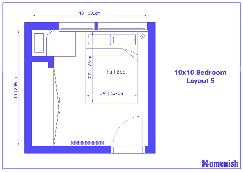 10x10 Bedroom Layout 5