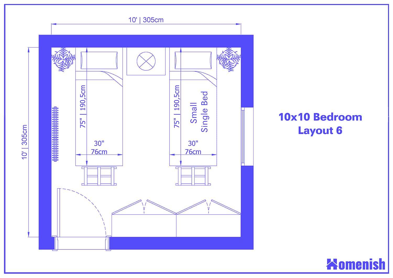 10x10 Bedroom Layout 6