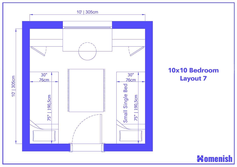 10x10 Bedroom Layout 7