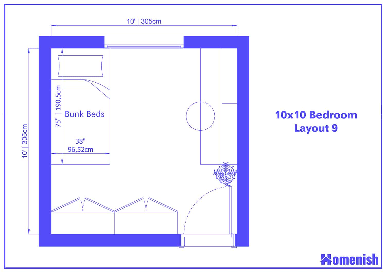 10x10 Bedroom Layout 9