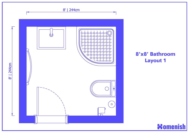 8' x 8' Bathroom Layout 1