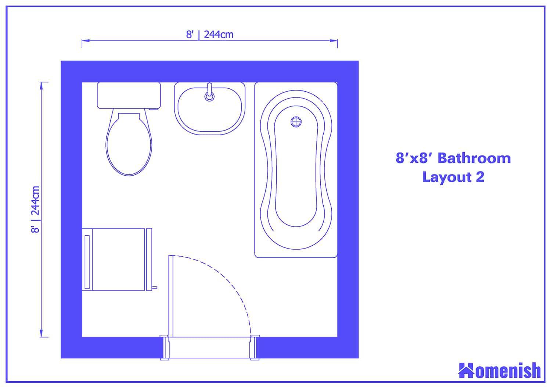 8' x 8' Bathroom Layout 2