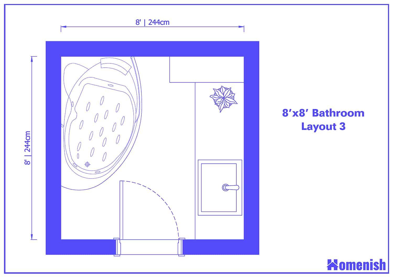 8' x 8' Bathroom Layout 3