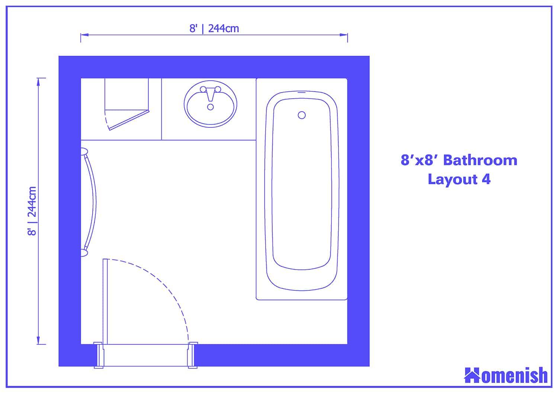 8' x 8' Bathroom Layout 4