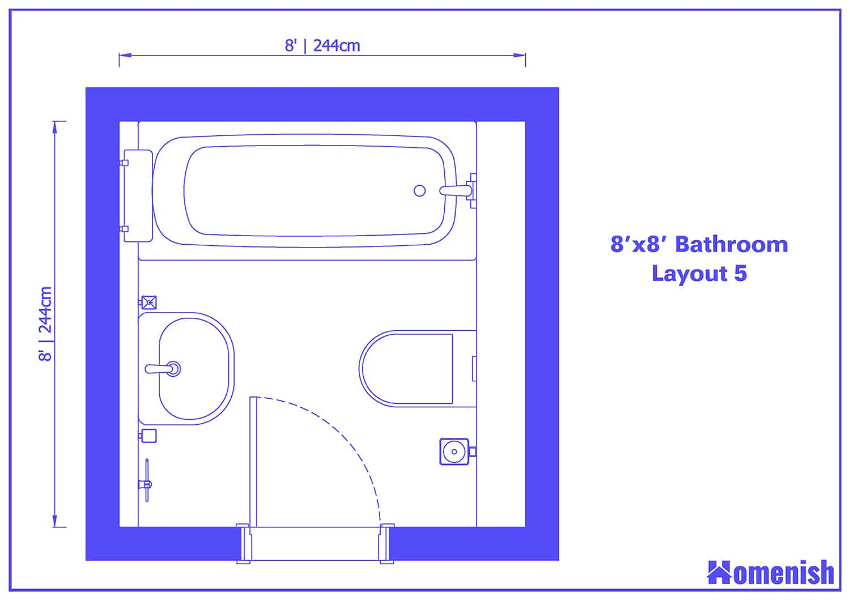 8' x 8' Bathroom Layout 5