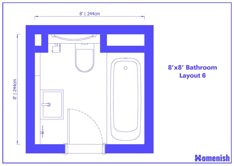 8' x 8' Bathroom Layout 6