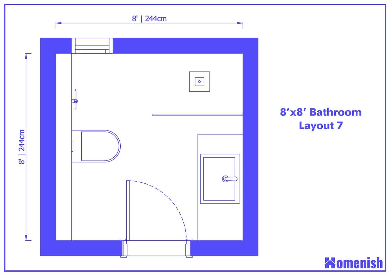 8' x 8' Bathroom Layout 7