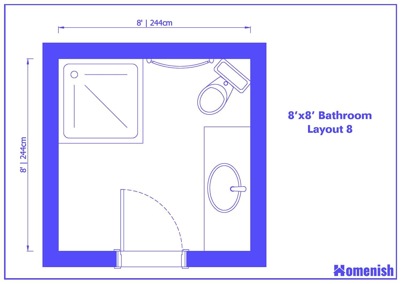 8' x 8' Bathroom Layout 8