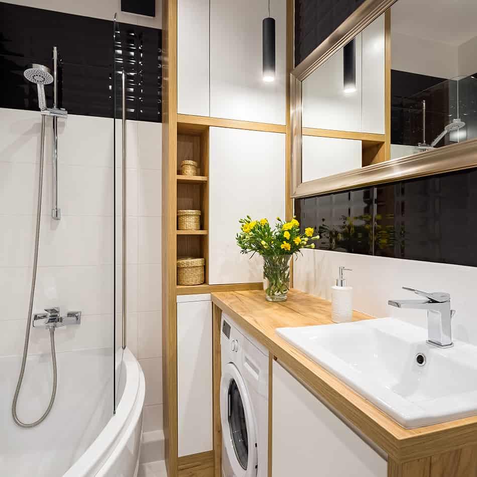 Corner Bathtub with Washing Machine, and Storage