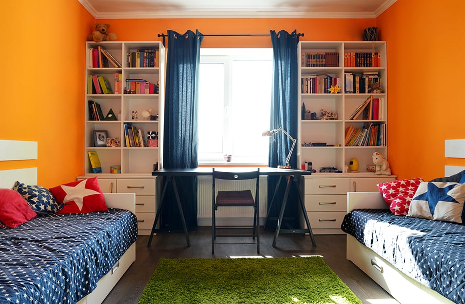 Twin Beds Against Opposite Walls