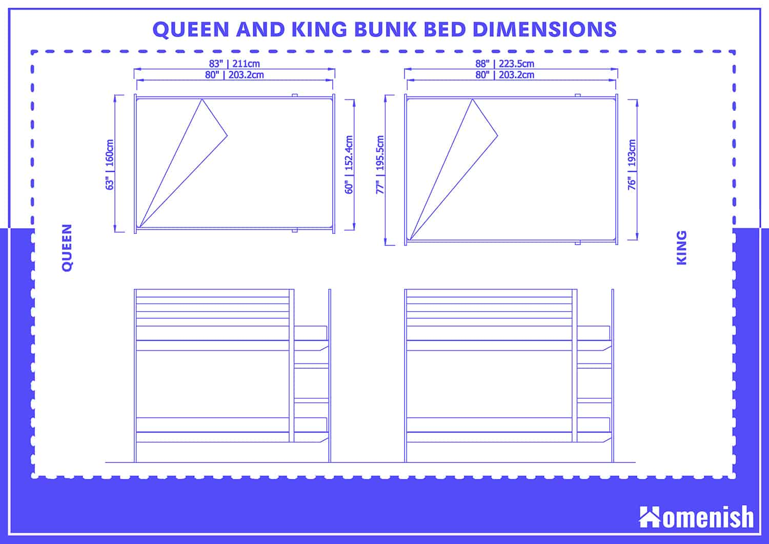 Queen and King Bunk Bed Dimensions