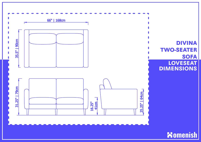 Divina Two-Seater Sofa Loveseat