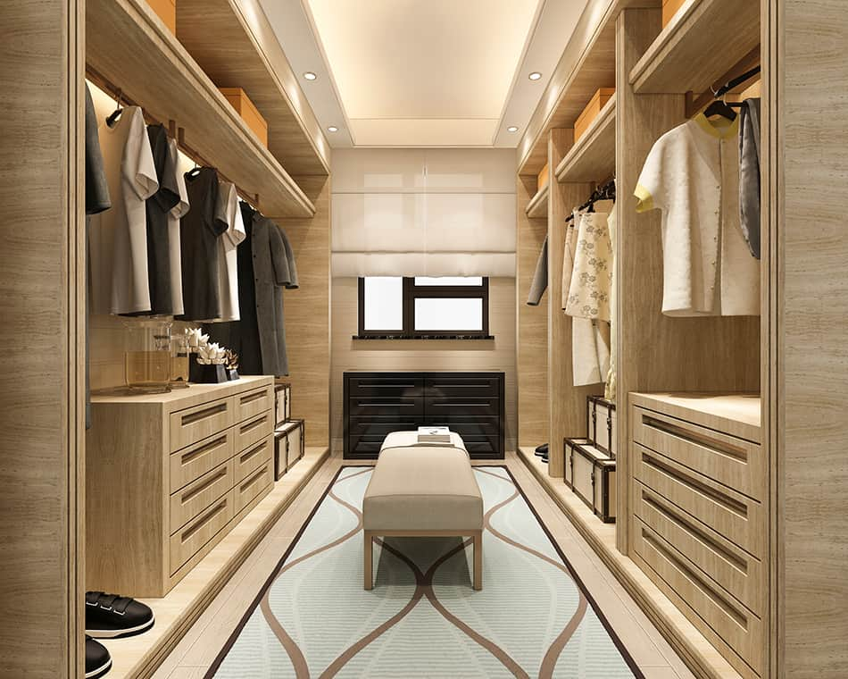 Choose Light and Bright for Small Walk-In Closets