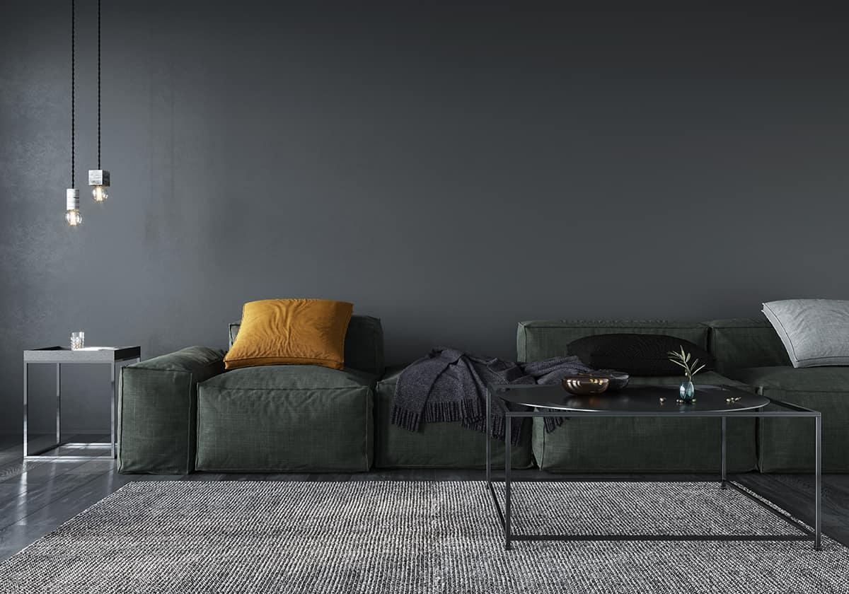 Design a Masculine Charcoal Living Room