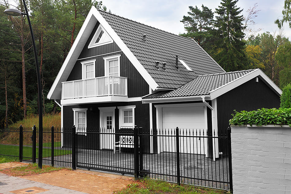 Black house with a black roof