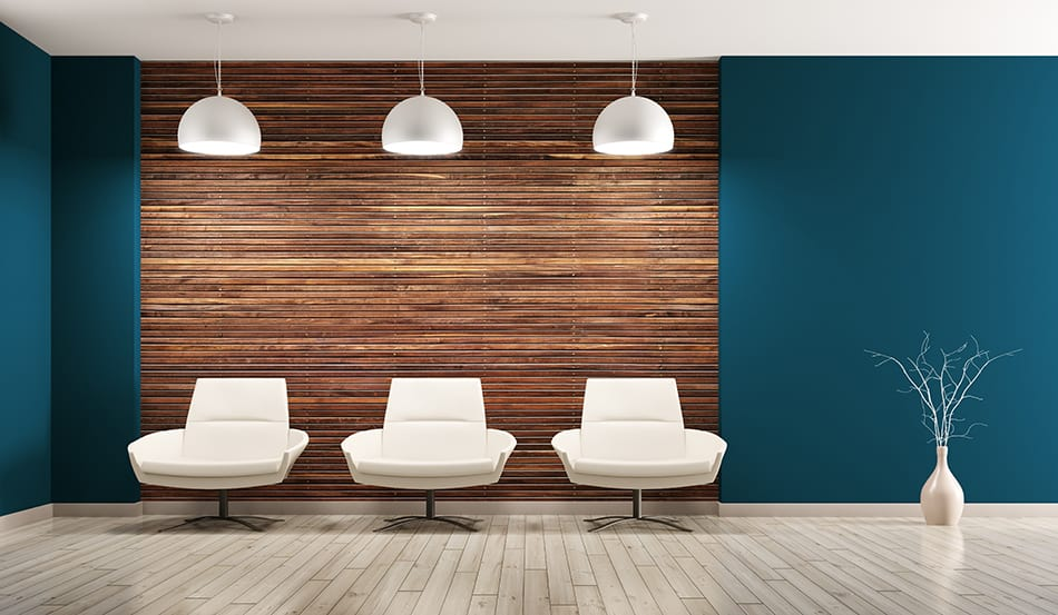 Blue Color with Wood Paneling