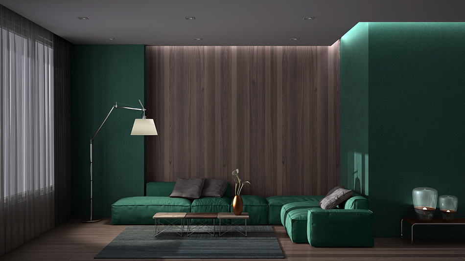 Green Color with Wood Paneling