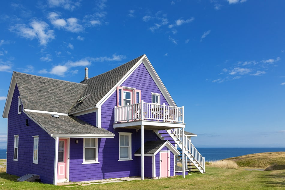 Purple house with a black roof