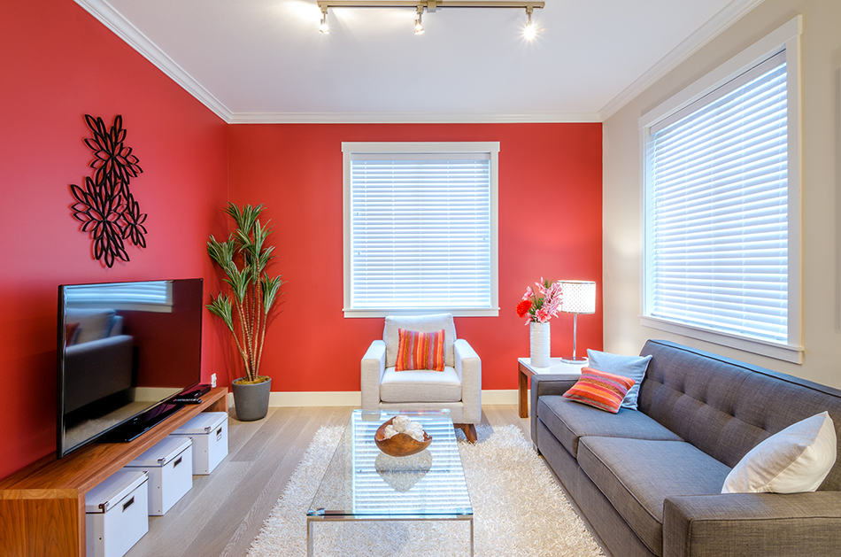 Living room Red Walls