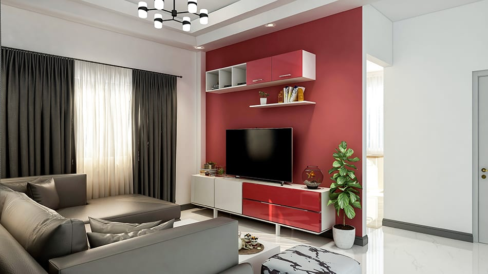 Small Apartment Room Red Walls