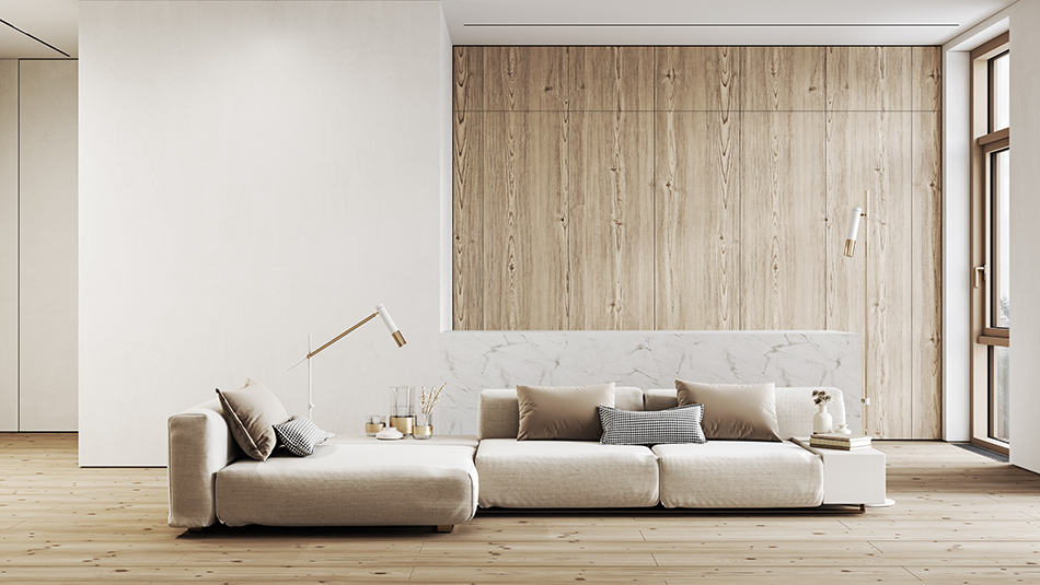 White Color with Wood Paneling