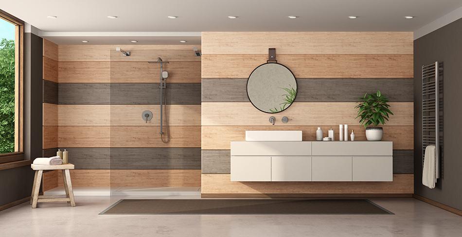 Wood in Bathroom Walls