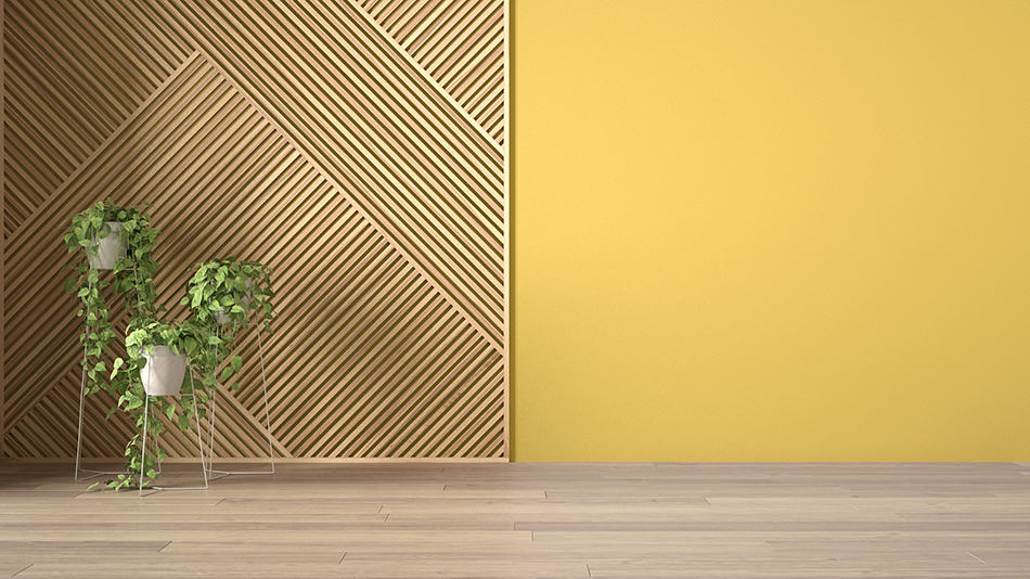 Yellow Color with Wood Paneling