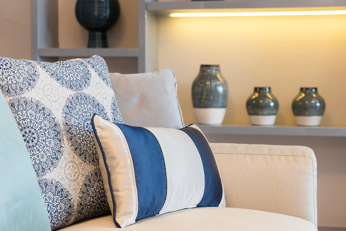 Blue and White Striped Pillows