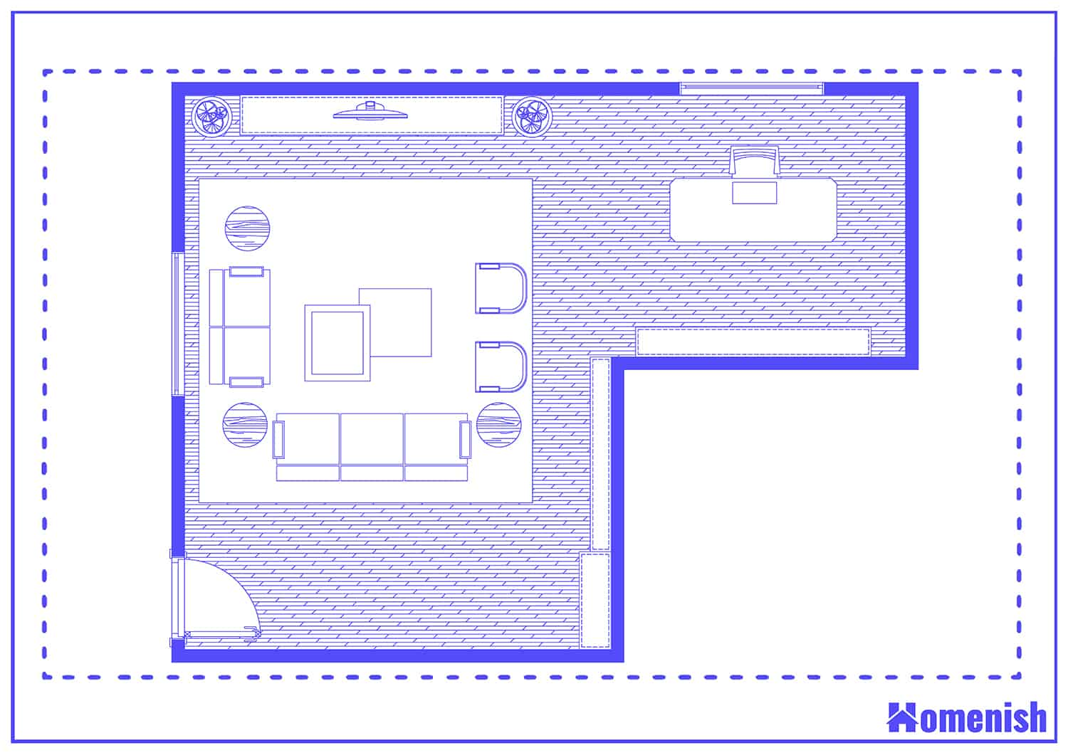 Living Room and Home Office Layout