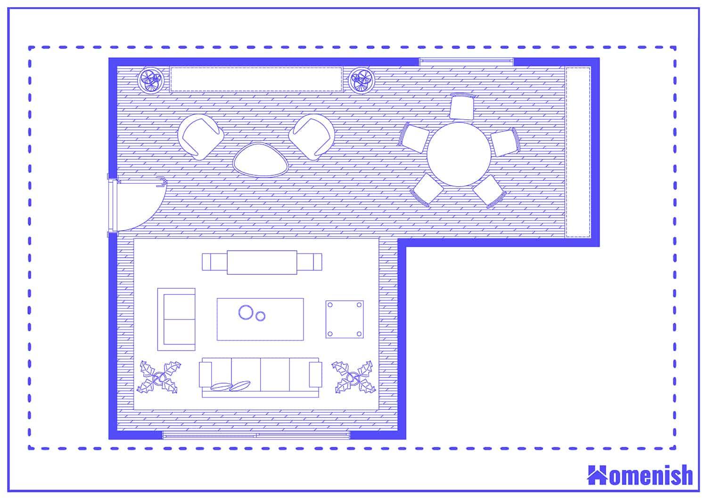 Tri-Purpose Living Room Layout