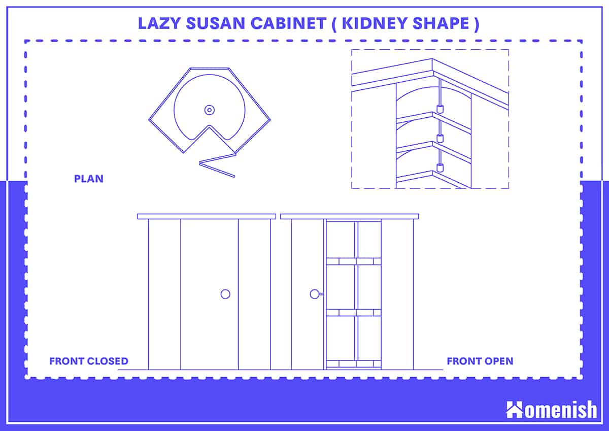 Kidney Shape Lazy Susan Cabinet and Size