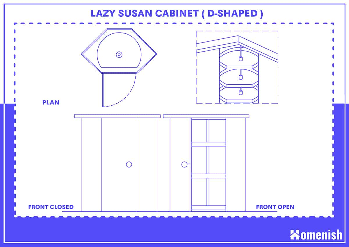 D-shaped Lazy Susan Cabinet and Size